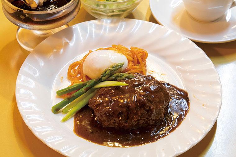牛すじコトコトデミソースのビーフハンバーグ(ミニサラダ、デザート、コーヒー付)